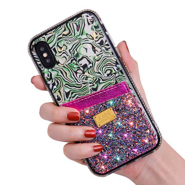 라인 석 전화 Ccase 아이폰 XS MAX 11 11PRO XR 6 ~ 8 PLUS 신용 카드 케이스 아이폰 11 블링 다이아몬드 핸드폰 케이스