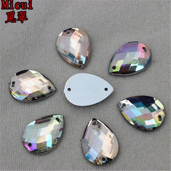 Micui 100pcs 13*18mm Crystal AB clear Acrylic Rhinestones Flatback Drop Gems Strass Sewing Stone For Clothes Dress Craft ZZ57F