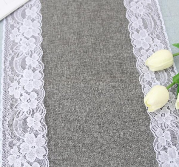 grey lace table runners vintage burlap jute linen dinning room table runners cloths home restaurant table decorations 30x275cm