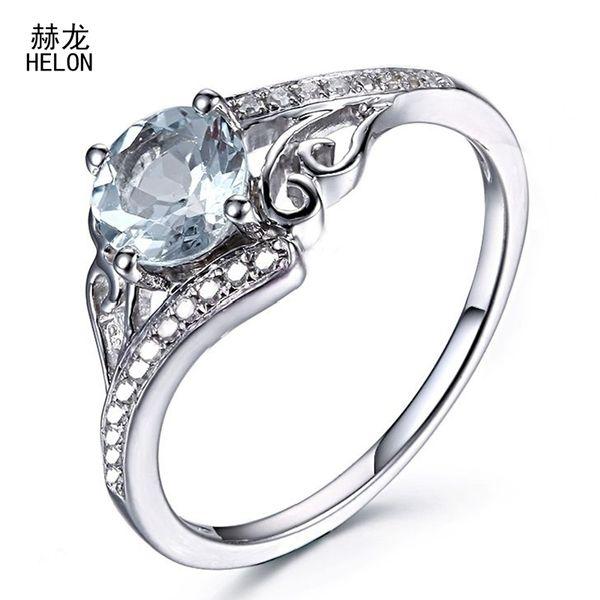 6mm Round Genuine Aquamarine Real Diamonds Jewelry Fine Ring Solid 10k White Gold Engagement Wedding Women Trendy Jewelry Ring S625