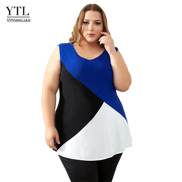 Summer Tops For Women Plus Size Tank Tops Tees Colorblock Sleeveless Oversized T Shirt Casual Camisa Female Tube Tops H093 Y19042801