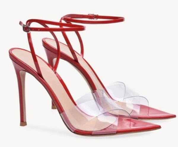 Sandali estivi in PVC con cinturino a punta aperta, sandali da donna, tacchi alti, décolleté sexy, scarpe da stiletto nere rosse nude