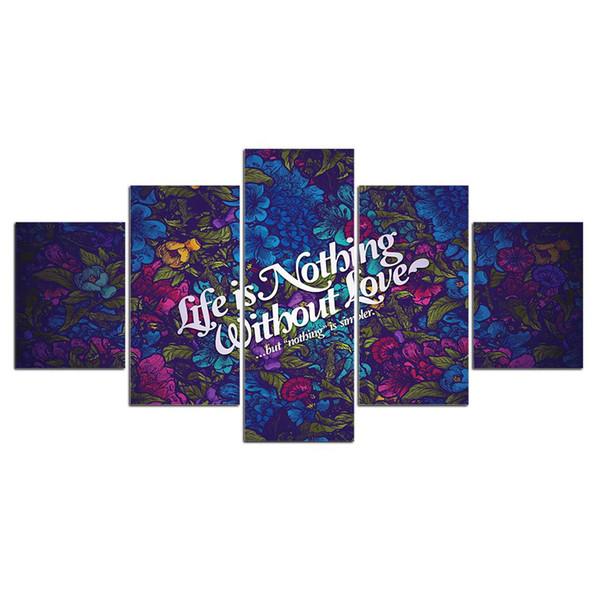 5 Шт. Life Love Цитата HD Печатные Отпечатки На Холсте Живопись Настенные Панно Для Гостиной Стены Искусства Без Рамки