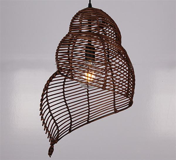 Rotin Conch Tissage De Bambou LED Pendentif Lustre Lumière Cuisine Plafonnier Pour Chambre Chambre Bar Éclairage À La Maison