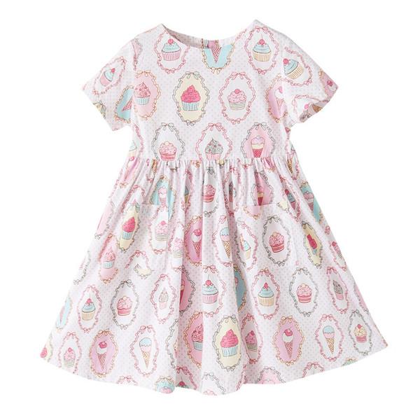 Kids Girls Summer Dress Round Neck Short Sleeve Ice Cream Printed Zipper Dresses Kids Designer Dress Holiday Summer Party Cotton Dress