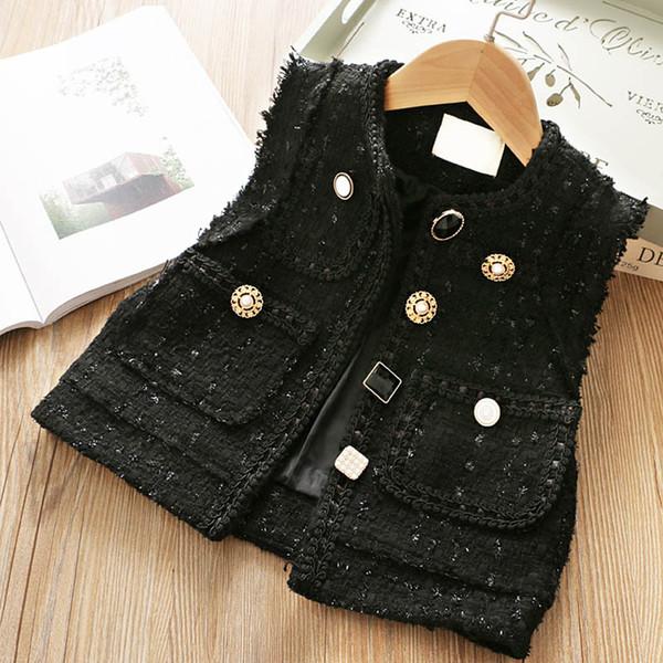 Модные девушки жилет шерстяной детский жилет детская дизайнерская одежда пальто для девочек новый 2019 осень зима дети жилет для девочек и пиджаки A7455