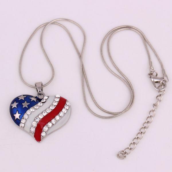 HL13 moda rhodium banhado a bandeira americana do coração com colar de cristal claro