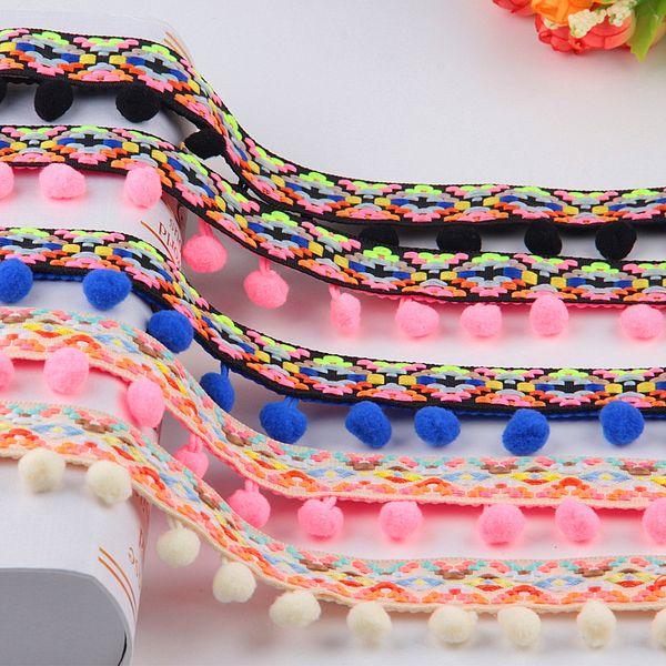 afbdfc9130 2019 Lace Fabric Fashion Pompom Trim Fringe Ribbon Pom Pom 10 12mm  Decoration Pompoms Ball Curtain Clothing Accessories 4yardFrom  Luckyrainbow_kz, ...