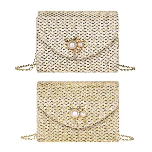 Cat Pearl Decor Shoulder Messenger Handbags Casual Straw Woven Women Summer Beach Chain Crossbody Bags 2019 Hot Selling