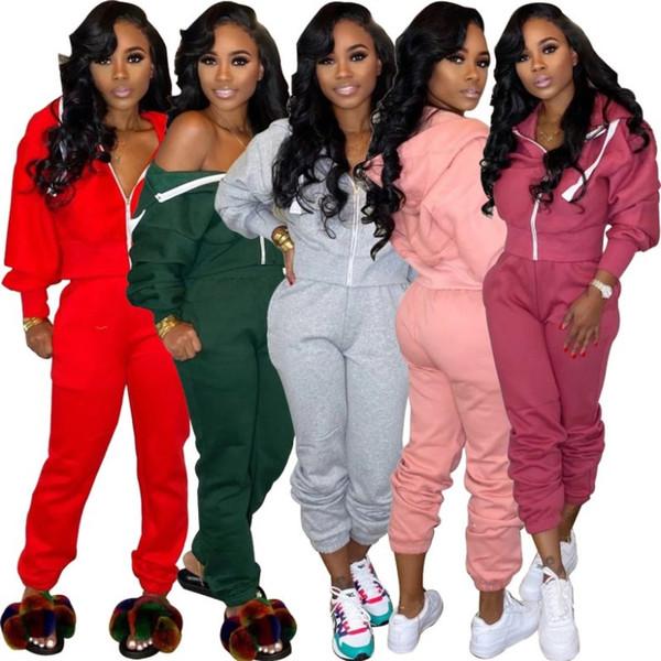 kadın iki parçalı setin kıyafetler uzun kollu eşofman ceket pantolon dış giyim tayt spor sıcak klw2912 set spor giyim legging kapüşon