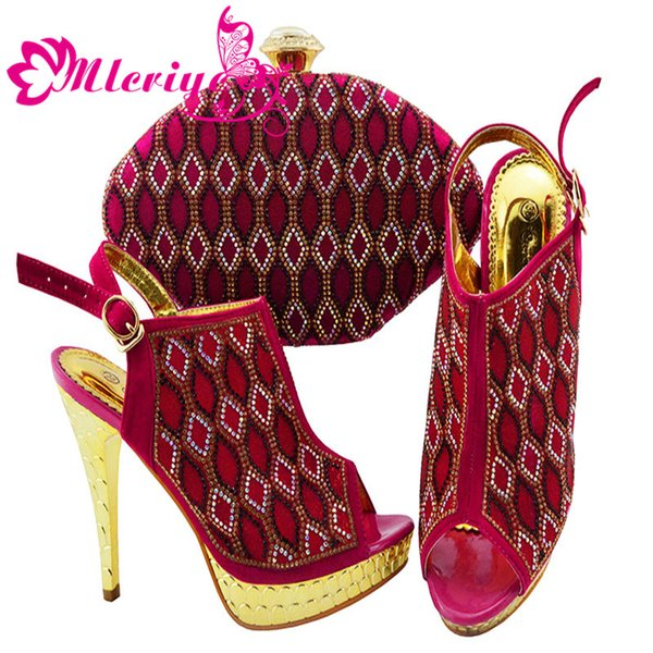 JZC003-ROSE Italian Shoes with Matching Bags 2019 Shoes Woman High Heel Luxury Women Nigerian Women Wedding Shoes with Rhinestone