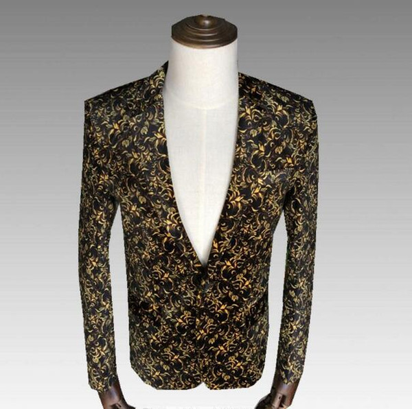 Fashion 2 Colors Gold Red Printed Slim Men Suit Jacket Nightclub Male Singer Show Costume Host Outfit Wedding Evening Coat