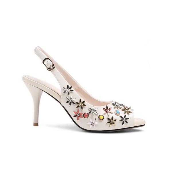 Zapatos de vestir de moda de mujer de cristal de fondo rojo más nuevos Tacones altos Punta puntiaguda Remache Boda tacón de aguja bomba punta abierta Zapatos de cuero genuino