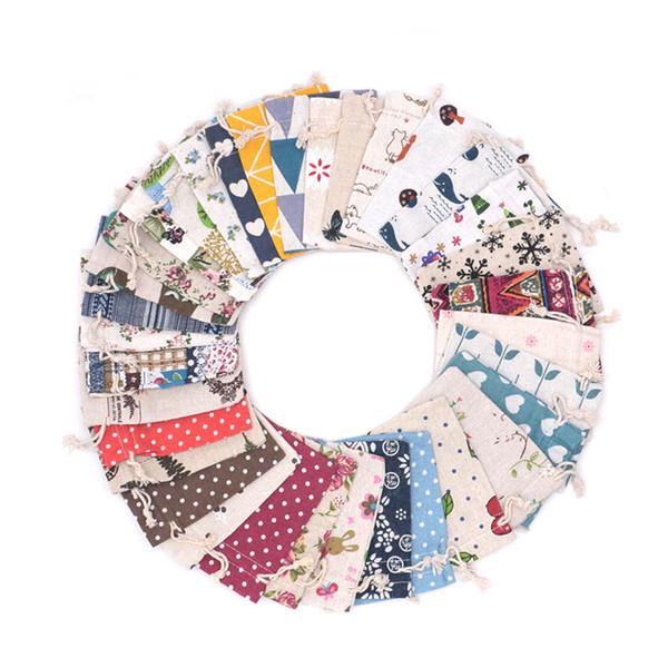 En gros 50pcs 10x14cm Grand Cordon Sacs Multi Couleur Solid Coton Bijoux Emballage Sacs Pochette Cadeau Pas Cher Peut Imprimer Logo