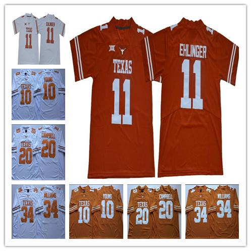 2019 Texas Longhorns # 11 Sam Ehlinger 10 Vince Young Earl Campbell Ricky Williams NCAA 150 ° Sugar Bowl Arancione Bianco College Football Jersey