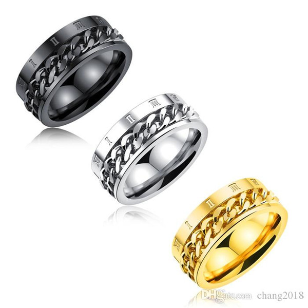 Unique Chain Spinner Rings For Men Roman Numerals Design Gold Color 8mm Width Punk Boy & Male Jewelry Band Gift GJ570