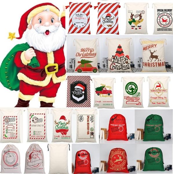 Hot Christmas Bags Large Organic Heavy Canvas Bag Santa Sack Drawstring Bag With Reindeers Santa Claus Sack Bags for kid 4549