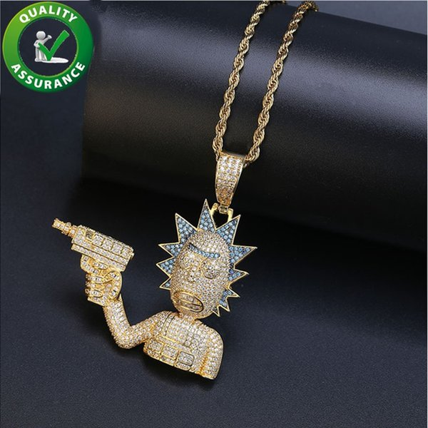 designer necklace hip hop jewelry iced out pendant mens mens gold chain pendants luxury bling diamond pandora style charms rapper fashion - from $49.49