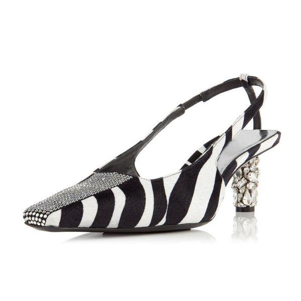 Sexy Zebra Pattern Slingbacks Pumps Women Crystal Kitten Heel Shoes Women Square Toe Hollow Heels Luxury Horsehair Shallow Shoes