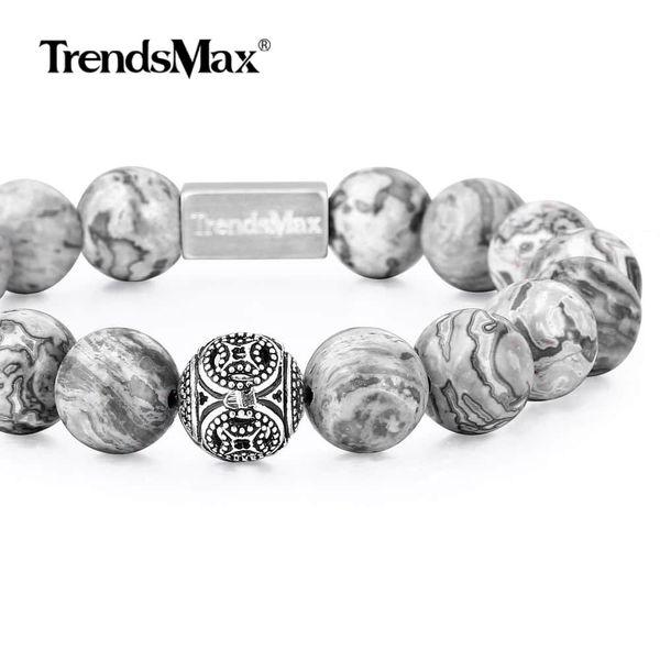naturalstonebeadedbraceletwomenmenstretch925sterlingsilverbeads bracelet mattegreyjaspergemstone 10/12mm tbb00806