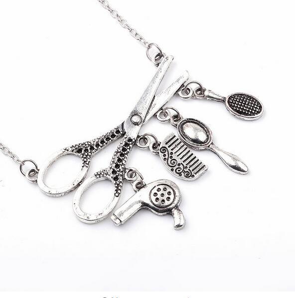 Vintage Silver Jewelry Necklace Tools Hair Dryer/Scissor/Comb/Mirror Pendants Necklace Barber Shop Hair Dresser Present Necklace