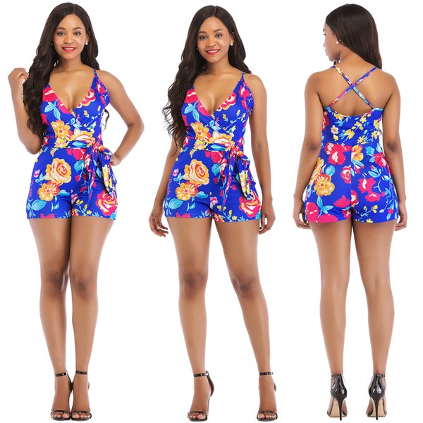 Newest Floral Print Women Jumpsuit Sexy Wrap V Neck Spaghetti Straps Casual Romper Fashion Holiday Outfits Playsuit Beach Wear