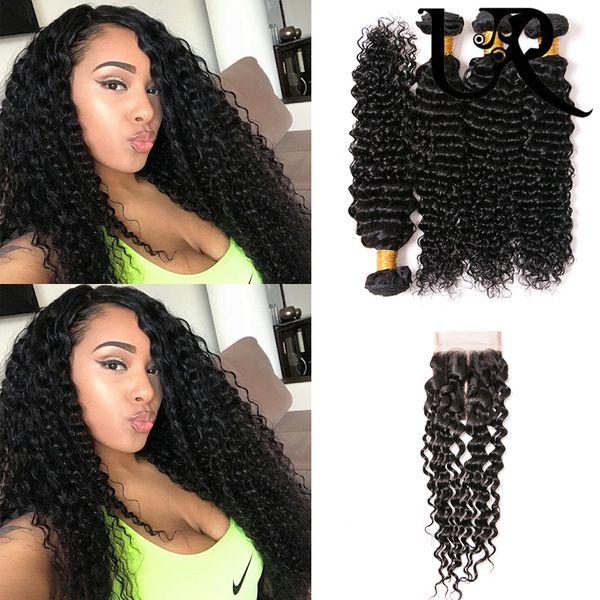URVENUS Hair Chinese Deep Wave Hair 4 Bundles With Lace Closure Unproessed Virgin Human Hair Bundles With 4*4 Swiss Lace Closure