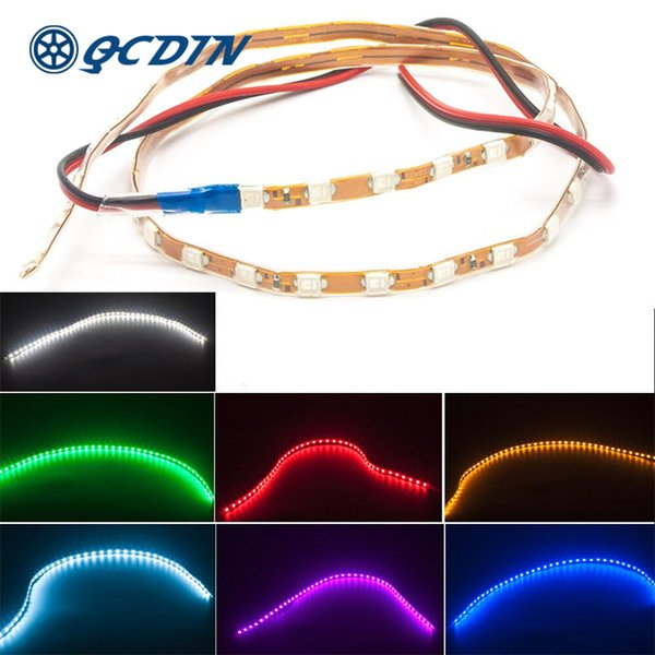 qcdin 45cm 1210 45smd dc 12v flexible led eyebrow lamp decoration strip for car waterproof car interior day running light