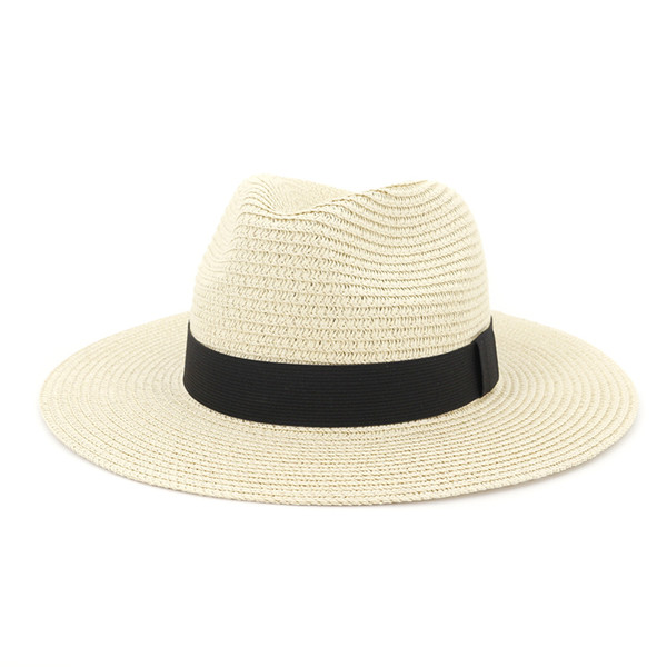 Straw Beach Sun Summer Hat Floppy Foldable Ladies Women Soft Panama Hats Outdoor Vogue Straw Hats with Grosgrain Band