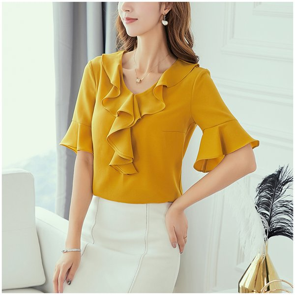 Ladies Summer Blouses Fashion Chiffon Shirt Women Plus Size Xxl Clothes 2019 New Petal Sleeve Lady Summer Top Office Casual Tops
