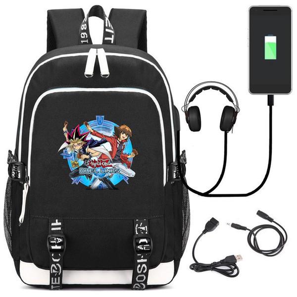 Anime Game Yu-Gi-Oh! DUEL LINKS Laptop Kids Teens Student School Bags Bookbag Unisex Gamer Shoulder Travel Bags