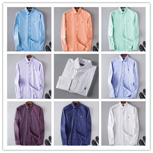 2018 Erkek Iş Rahat gömlek erkekler uzun kollu çizgili slim fit masculina sosyal erkek T-shirt yeni moda adam ekose desenli gömlek $ 6709