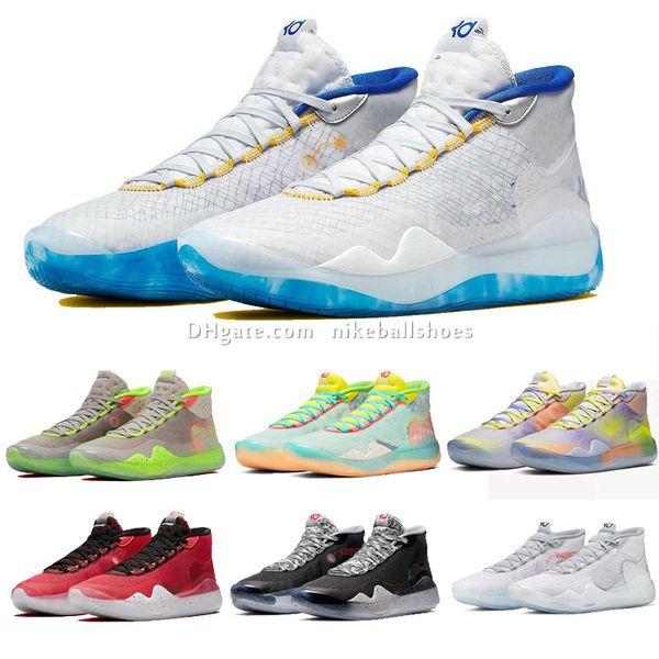 2019 Nuovo Kevin Durant 12 XII Alte KD 35 Warriors casa Bianco Blu Giallo Mens Basketball Scarpe da uomo Scarpe sportive KD12 Sneakers Taglia US4-12