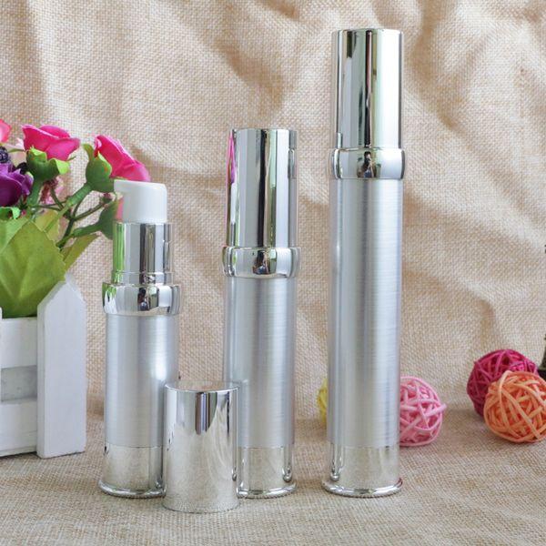 15 ml 20 ml 30 ml Plástico Airless Loción Bombas Botellas de plata Envases Empaquetado DIY Herramientas de maquillaje esenciales Botella recargable de 10pcs