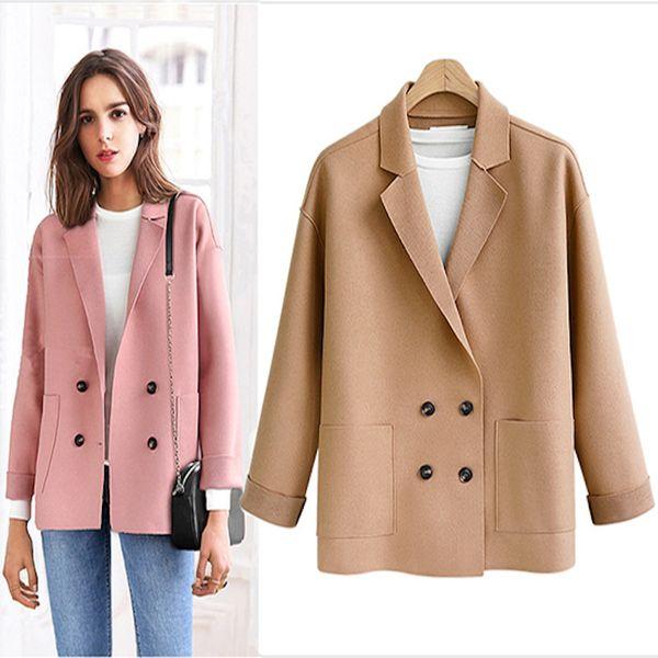 Çift Yün Ceket 2019 Kış Palto Ceket Kadın Yün Kaşmir Palto Kruvaze Hırka Kadın Ceket Artı Boyutu