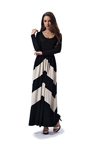 Charm Your Prince Women's Long Sleeve Regular & Petite Chevron Empire Maxi Dress