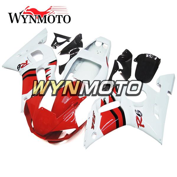 Обтекатели для мотоциклов Yamaha YZF 600 R6 1998 1999 2000 2001 2002 ABS Пластиковые впрыскивания мотоциклов Комплекты капотов крышки глянцевый белый красный
