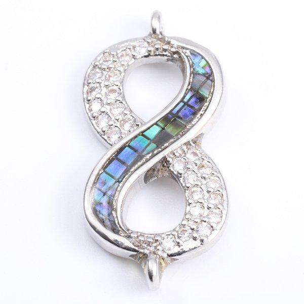 Singeal Abalone Shell Micro Pave Infinity Charms Bracciale collana Girocollo connettori a sospensione per le donne Creazione di gioielli fai da te
