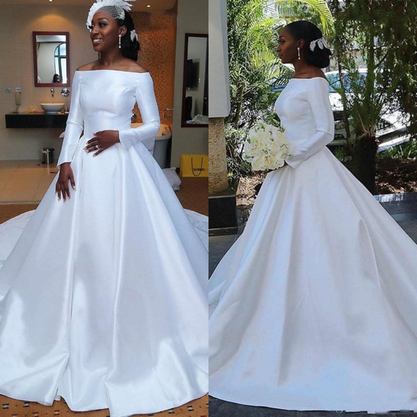 Discount 2019 Simple Wedding Dresses Cheap Satin Bridal Ball Gown Off Shoulder A Line Plus Size Wedding Gown African Girl Long Sleeve Bridal Gowns