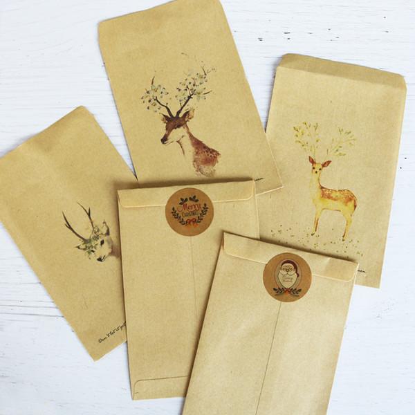 20 stücke Hirsch Umschläge Weihnachten Kraftpapier Umschläge Kleine Kraftpapiertüte Brief Karte Tasche Für Geburtstag Hochzeit Dekoration
