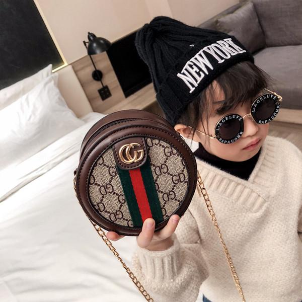 Kinder Handtaschen Baby Taschen Schöne Briefgestaltung Prinzessin Geldbörsen Mädchen Mini Pu Kette Geneigte runde Umhängetaschen