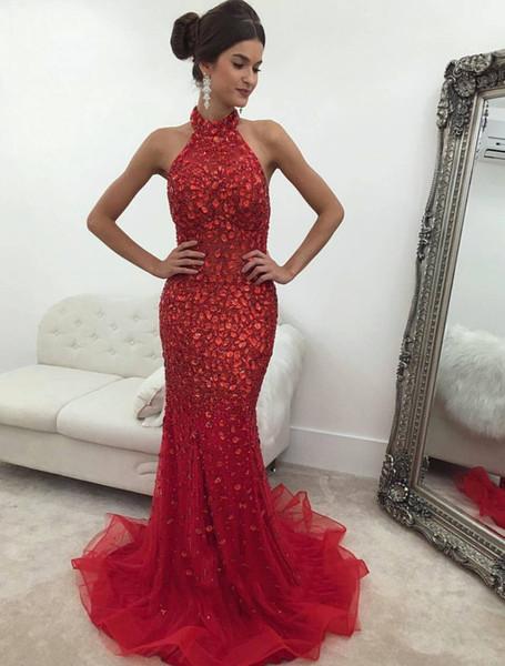 Red Mermaid Prom Dresses Long 2019 Elegant Full Crystals High Neck Tulle Sweep Train Long Women Evening Formal Dresses Prom Wear DP0388