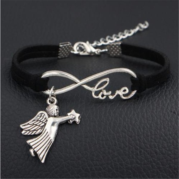 Cute Lovers Angel Fairy Star Charms Vintage Black Leather Suede Cuff Punk Bracelets & Bangles Silver Love Infinity Women Men Fashion Jewelry
