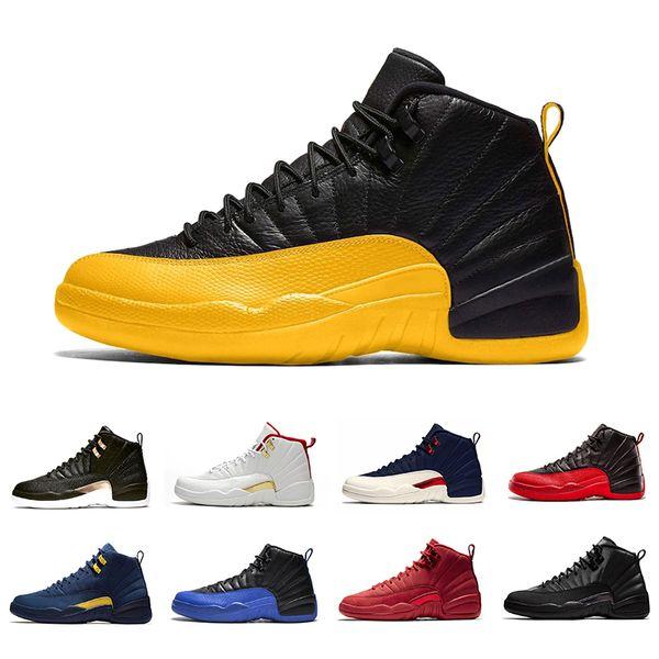 12 s FIBA OVO Beyaz Ters 12 Erkekler Basketbol Ayakkabıları Koleji Donanma Oyunu Kraliyet Bordo retro Gri WNTR Michigan Kanatları spor tasarımcısı sneakers
