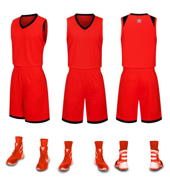 2019 новые пустые трикотажные изделия баскетбола напечатаны логотип мужские размер S-XXL дешевая цена быстрая доставка хорошее качество красный R001