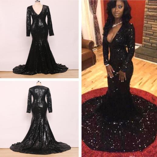 2K19 sexy lentejuelas negras sirena vestidos de noche trompeta profundo escote en v manga larga 2019 vestidos de baile tren de corte vestido de fiesta formal