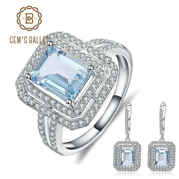 GEM'S BALLET 10.61ct Oval Natural Sky Blue Topaz Jewelry Set 925 Sterling Silver Earrings Ring Set For Women Fine Jewelry