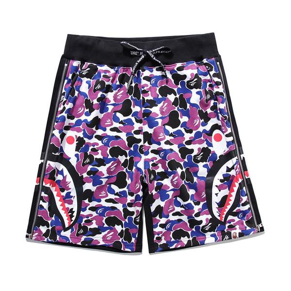 Coton de sport Hip Hop Shorts décontractés en coton de marque de mode été nouvelle amant Camo Zipper couture lâche Beach Shorts