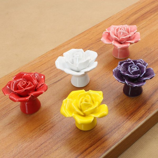 best selling Ceramic Rose Cabinet Knob Drawer Dresser Kids Furniture Pull Handle simple and modern design free shipping