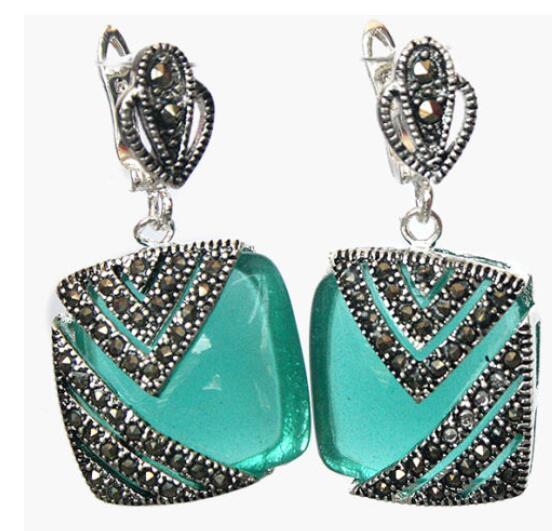 Frauen Geschenk Wort Liebe echte natürliche grüne Opal Cat Eye Stein 925 Silber Markasit Ohrringe 1